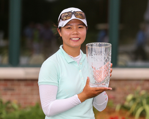 2013 LPGA Symetra Decatur Forsyth Classic Tournament winner, Sue Kim from Canada, winning at -10 in sudden death playoff.
